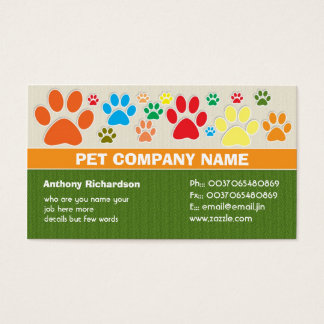 colorful pet pets care veterinary business cards