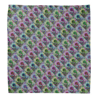 Colorful Petals on Paisley Patterned Bandana
