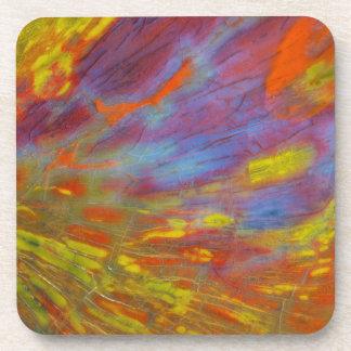 Colorful Petrified Wood close-up Coaster