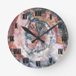 Colorful Petrified Wood photo Round Clock