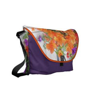 Colorful Petunias Rickshaw Messenger Bag