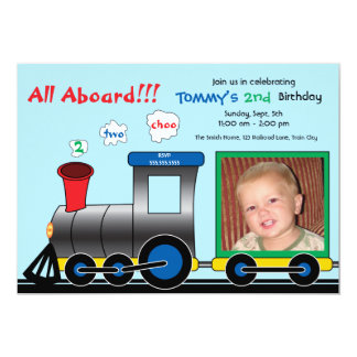 Colorful Photo Train Birthday Invitation