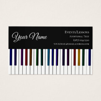Colorful Piano Keyboard- Teacher Songwriter Band Business Card