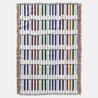 Colorful Piano Keys Music Throw Blanket