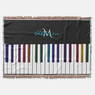 Colorful Piano Personalized Music Throw Blanket