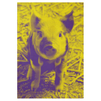 Colorful Pig Wood Poster
