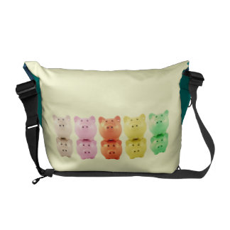 Colorful Piggy Banks Rickshaw Messenger Bag