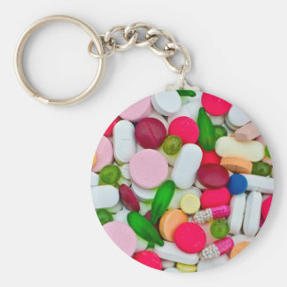 Colorful pills custom product basic round button key ring