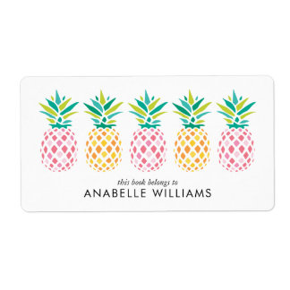 Colorful Pineapples Bookplate Labels