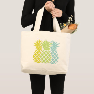 Colorful Pineapples Large Tote Bag