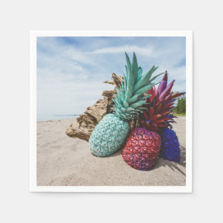 Colorful Pineapples on a Sandy Beach Paper Napkin