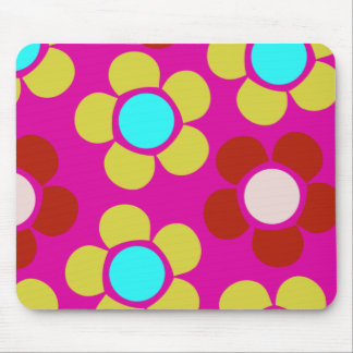 Colorful pink and blue flowers mouse pad