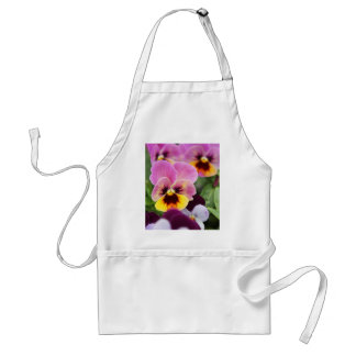 Colorful Pink and Yellow Pansy Flower Standard Apron