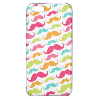 Colorful pink aqua trendy funny mustache pattern iPhone 5C cases