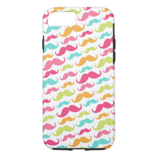 Colorful pink aqua trendy funny mustache pattern iPhone 7 case