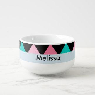 Colorful Pink Blue and Black Diamond Shape Soup Mug