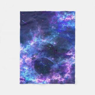 Colorful pink blue galaxy nebula pattern fleece blanket