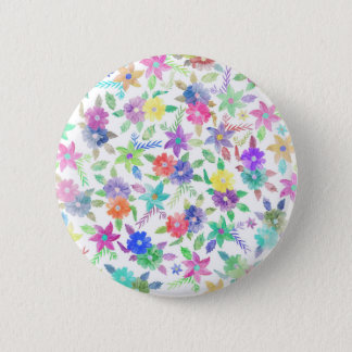 Colorful pink blue green watercolor flowers 6 cm round badge