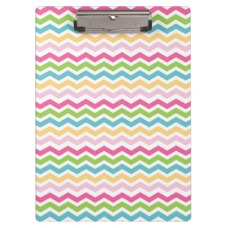 Colorful Pink Blue Green Yellow Chevron Stripes Clipboard