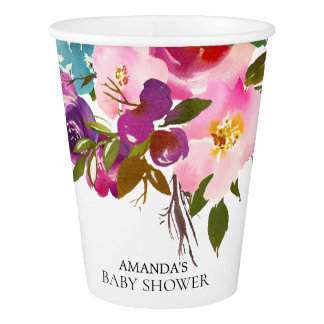 Colorful Pink Flowers Baby Shower Paper Cup