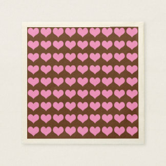 Colorful Pink Hearts on Chocolate Brown Background Paper Napkin