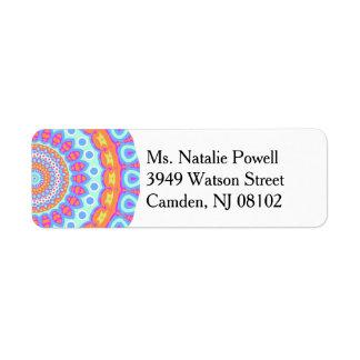 Colorful Pink Mandala Design Return Address Label