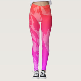 Colorful Pink Orange Abstract - Leggings