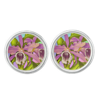 Colorful Pink Orchids Cufflinks