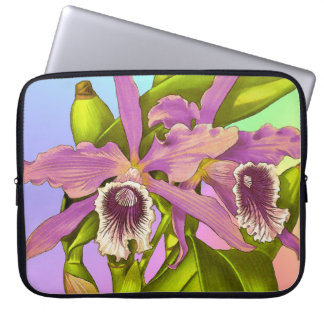 Colorful Pink Orchids Laptop Sleeve