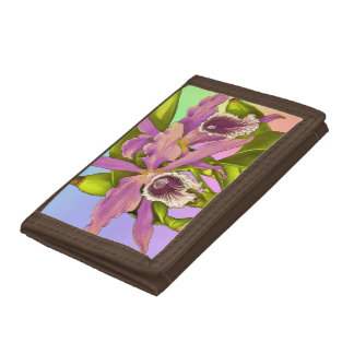 Colorful Pink Orchids Trifold Wallet