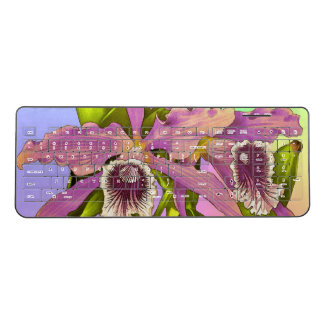 Colorful Pink Orchids Wireless Keyboard