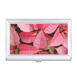 Colorful Pink Poinsettia Christmas Floral Business Card Holder