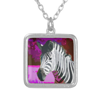Colorful Pink Purple Neon Zebra Silver Plated Necklace