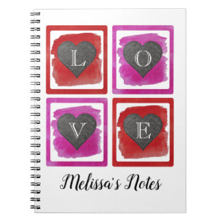 Colorful Pink Red Framed Ink Crosshatched Hearts Notebook