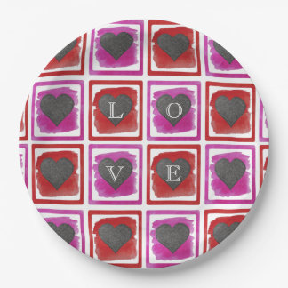 Colorful Pink Red Framed Ink Crosshatched Hearts Paper Plate