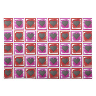 Colorful Pink Red Framed Ink Crosshatched Hearts Placemat