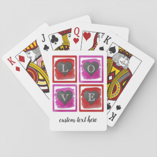 Colorful Pink Red Framed Ink Crosshatched Hearts Playing Cards