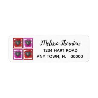 Colorful Pink Red Framed Ink Crosshatched Hearts Return Address Label