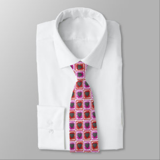 Colorful Pink Red Framed Ink Crosshatched Hearts Tie