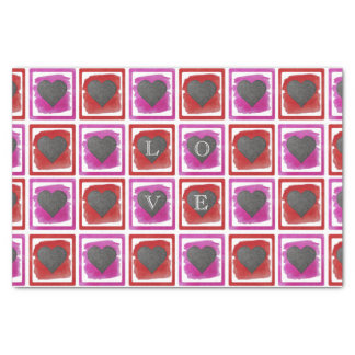 Colorful Pink Red Framed Ink Crosshatched Hearts Tissue Paper