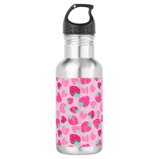 Colorful pink strawberry pattern 532 ml water bottle