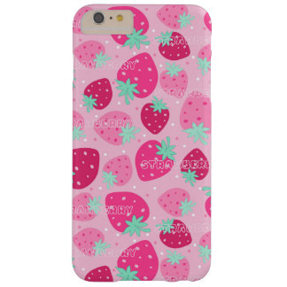 Colorful pink strawberry pattern barely there iPhone 6 plus case
