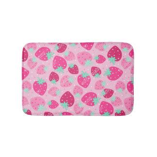 Colorful pink strawberry pattern bath mat