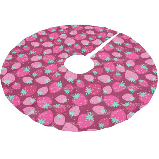 Colorful pink strawberry pattern brushed polyester tree skirt