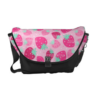 Colorful pink strawberry pattern commuter bag
