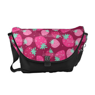 Colorful pink strawberry pattern commuter bags