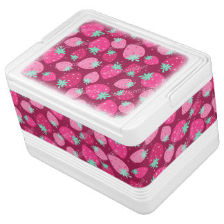 Colorful pink strawberry pattern cooler