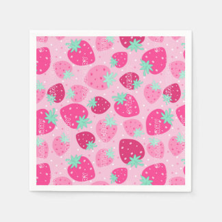 Colorful pink strawberry pattern disposable serviettes