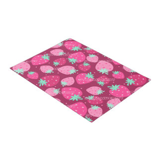 Colorful pink strawberry pattern doormat