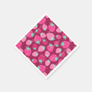 Colorful pink strawberry pattern paper napkin